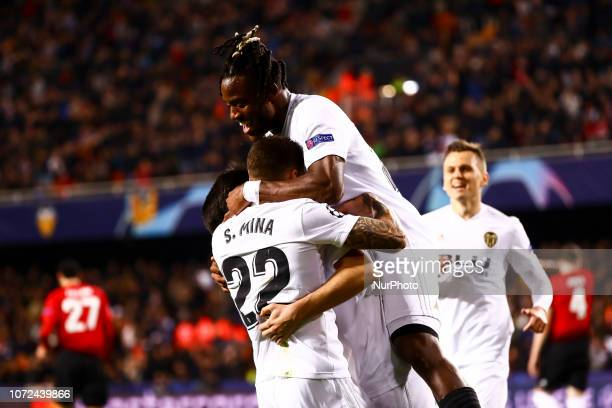 Carlos Soler of Valencia CF celebrate after scoring the 10 goal with his teammate Santi Mina of Valencia CF and Batshuayi of Valencia CF during UEFA...