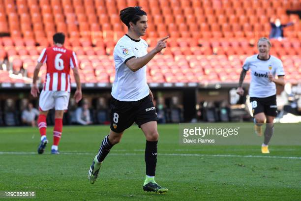 Carlos Soler of Valencia CF celebrates after scoring his team's first goal during the La Liga Santander match between Valencia CF and Athletic Club...