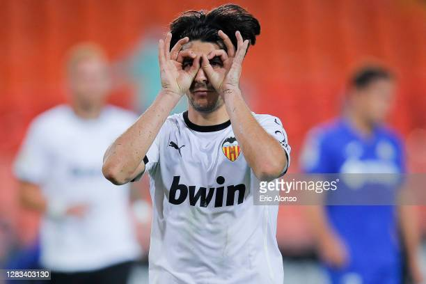 Carlos Soler of Valencia CF celebrates scoring his side's 2nd goal in the 95th minute during the La Liga Santander match between Valencia CF and...