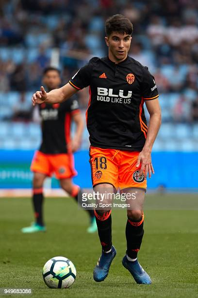 Carlos Soler of Valencia CF in action during the La Liga match between Celta de Vigo and Valencia at Balaidos Stadium on April 21 2018 in Vigo Spain