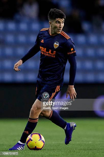 Carlos Soler of Valencia CF in action during the La Liga match between RC Celta de Vigo and Valencia CF at Abanca Balaidos Stadium on January 19 2019...
