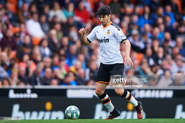 Carlos Soler of Valencia CF in action during the Liga match between Valencia CF and Real Betis Balompie at Estadio Mestalla on February 29 2020 in...