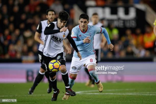 Carlos Soler of Valencia CF Pablo Hernandez of Celta de Vigo during the Spanish Primera Division match between Valencia v Celta de Vigo at the...