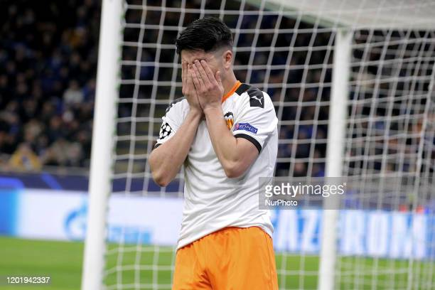 Carlos Soler of Valencia CF reacts to a missed chance during the UEFA Champions League round of 16 first leg match between Atalanta and Valencia CF...
