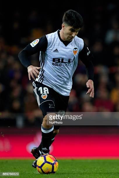 Carlos Soler of Valencia CF with the ball during the La Liga game between Valencia CF and Real Club Celta de Vigo at Mestalla on December 9 2017 in...