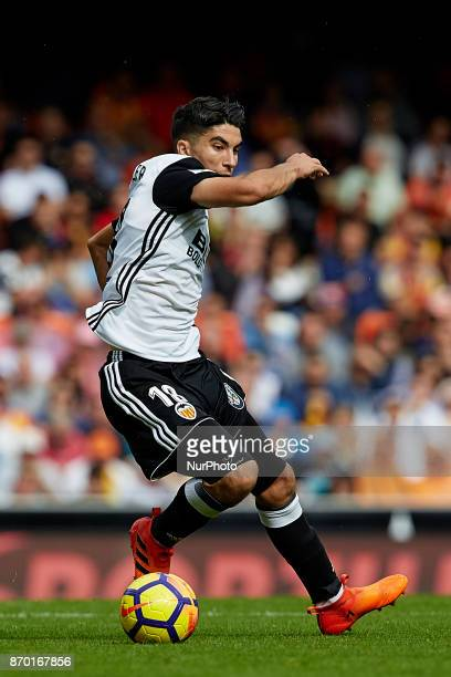 Carlos Soler of Valencia CF with the ball during the La Liga match between Valencia CF and CD Leganes at Mestalla Stadium on November 4 2017 in...