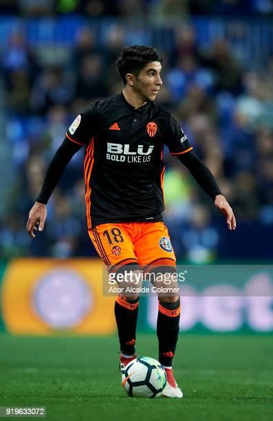 Carlos Soler of Valencia controls the ball during the La Liga match between Malaga and Valencia at Estadio La Rosaleda on February 17 2018 in Malaga...