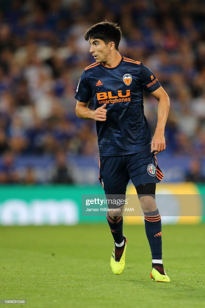 Carlos Soler of Valencia during the Pre-Season Friendly between Leicester City and Valencia at The King Power Stadium on August 1, 2018 in Leicester, England.