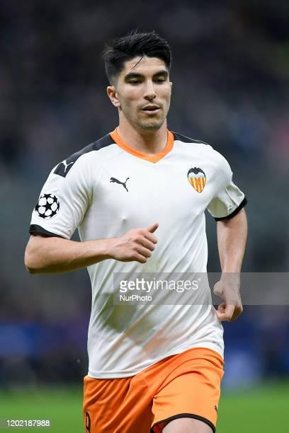 Carlos Soler of Valencia during the UEFA Champions League Round of 16 match between Atalanta and Valencia at Stadio San Siro Milan Italy on 19...