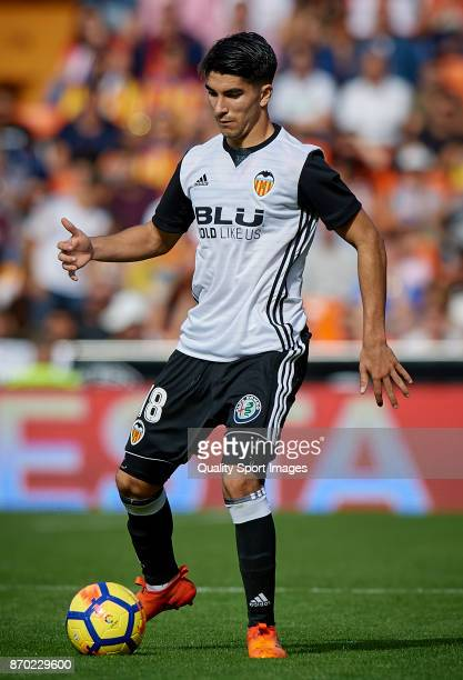 Carlos Soler of Valencia in action during the La Liga match between Valencia and Leganes at Mestalla Stadium on November 4 2017 in Valencia Spain