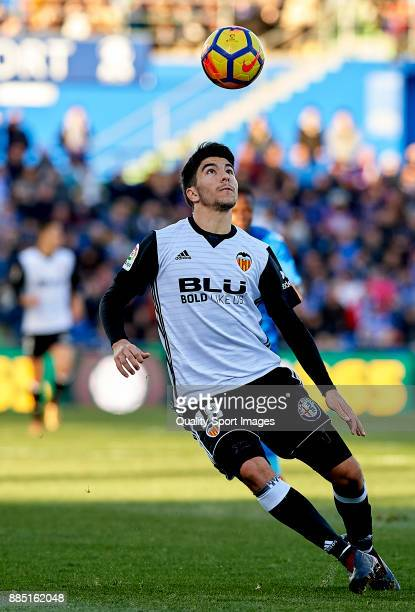 Carlos Soler of Valencia in action during the La Liga match between Getafe and Valencia at Coliseum Alfonso Perez on December 3 2017 in Getafe Spain
