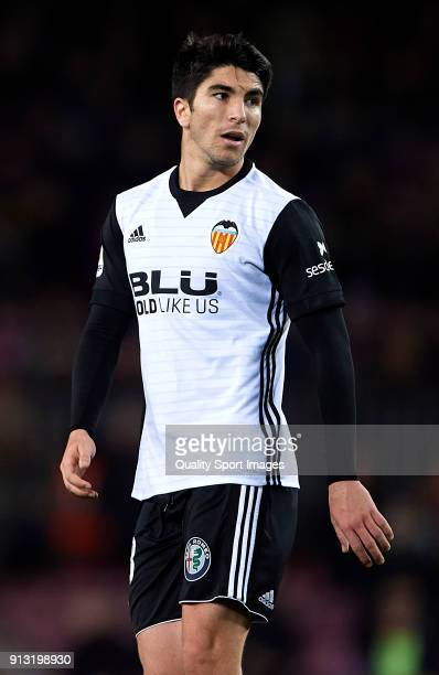 Carlos Soler of Valencia looks on during the Copa del Rey semifinal first leg match between FC Barcelona and Valencia CF at Camp Nou on February 1...
