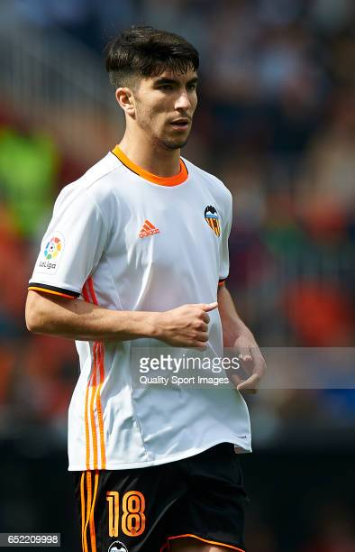 Carlos Soler of Valencia looks on during the La Liga match between Valencia CF and Real Sporting de Gijon at Mestalla Stadium on March 11 2017 in...
