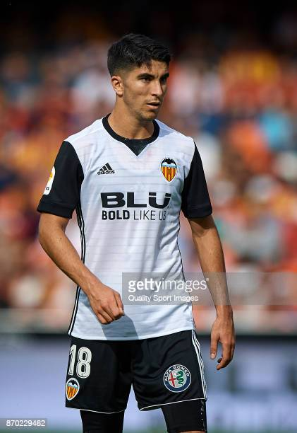 Carlos Soler of Valencia looks on during the La Liga match between Valencia and Leganes at Mestalla Stadium on November 4 2017 in Valencia Spain
