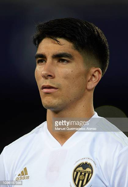 Carlos Soler of Valencia looks on prior to the Group H match of the UEFA Champions League between Valencia and Juventus at Estadio Mestalla on...