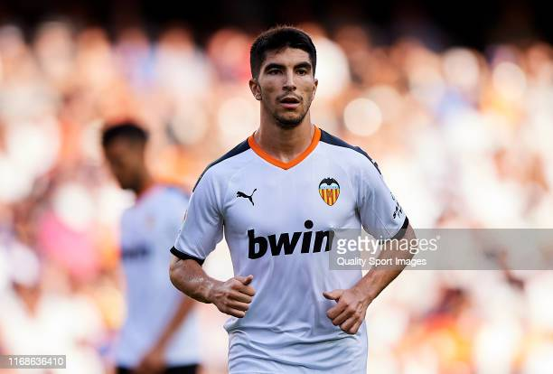 Carlos Soler of Valencia looks on the Liga match between Valencia CF and Real Sociedad at Estadio Mestalla on August 17 2019 in Valencia Spain