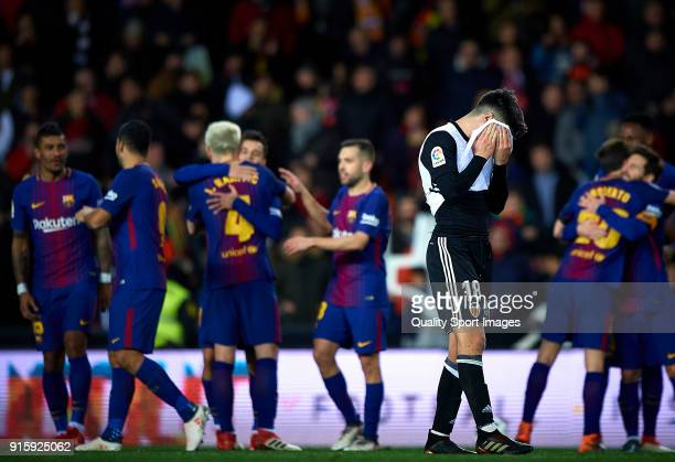 Carlos Soler of Valencia reacts during the Semi Final Second Leg match of the Copa del Rey between Valencia CF and FC Barcelona on February 8 2018 in...