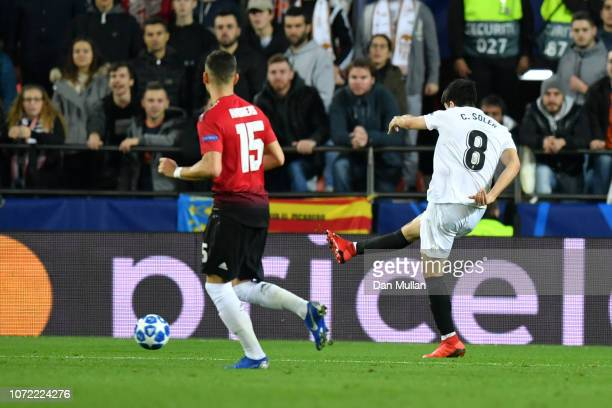 Carlos Soler of Valencia scores his sides first goal during the UEFA Champions League Group H match between Valencia and Manchester United at Estadio...