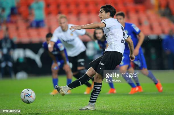 Carlos Soler of Valencia scores his sides second goal from the penalty spot during the La Liga Santander match between Valencia CF and Getafe CF at...