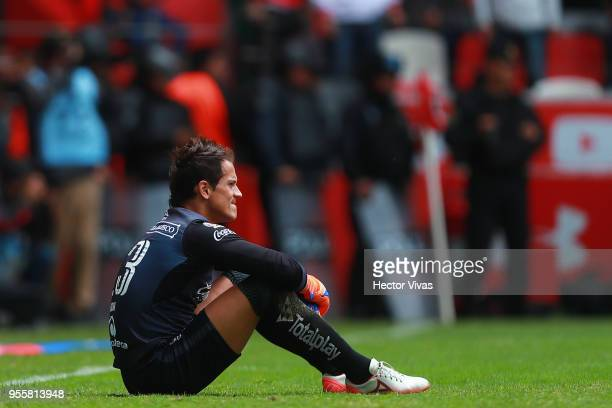 Carlos Sosa goalkeeper of Morelia looks dejected during the quarter finals second leg match between Toluca and Morelia as part of the Torneo Clausura...