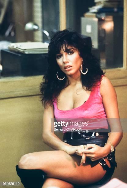 Carlos SottoMayor actrice lors du tournage du film 'Le Marginal' le 3 mai 1983 à Paris France
