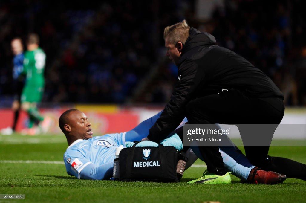 Carlos Strandberg of Malmo FF injured during the Allsvenskan match between IK Sirius and Malmo FF at Studenternas IP on October 29, 2017 in Uppsala, Sweden.
