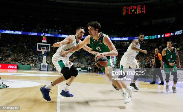 Carlos Suarez #43 of Unicaja Malaga c in action during the 2017/2018 Turkish Airlines EuroLeague Regular Season Round 7 game between Unicaja Malaga...