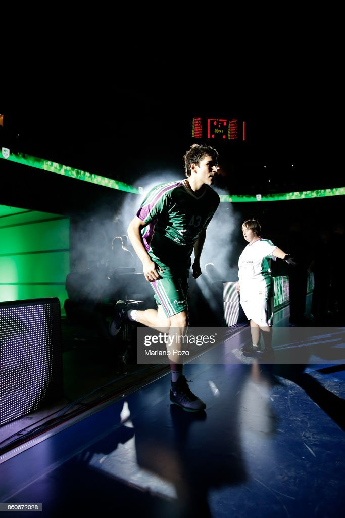 Carlos Suarez, #43 of Unicaja Malaga during the presentation of the 2017/2018 Turkish Airlines EuroLeague Regular Season Round 1 game between Unicaja Malaga v Fenerbahce Dogus Istanbul at Martin Carpena Arena on October 12, 2017 in Malaga, Spain.