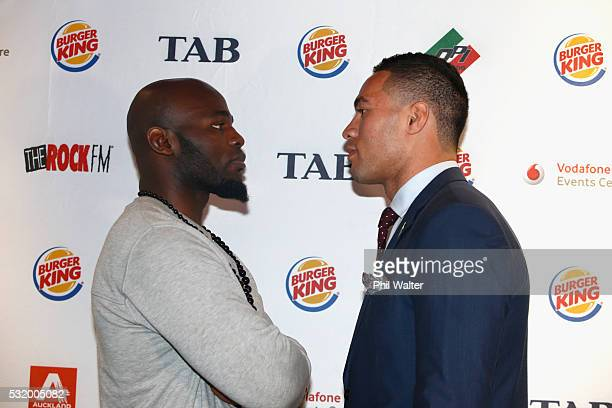 Carlos Takam and Joseph Parker pose following a press conference at Burger King on May 18 2016 in Auckland New Zealand
