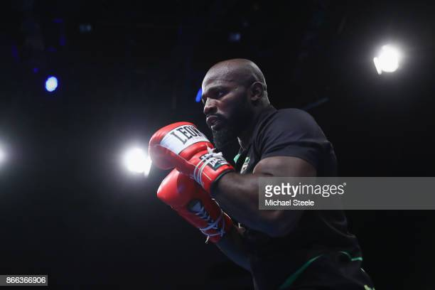 Carlos Takam at a public work out ahead of his world title fight against Anthony Joshua at St David's Hall on October 25 2017 in Cardiff Wales