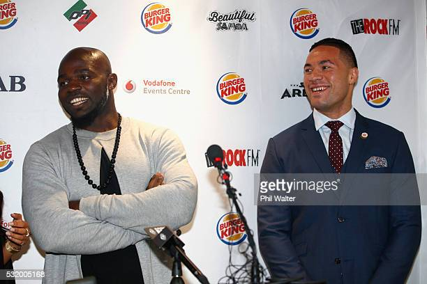 Carlos Takam speaks alongside Joseph Parker during a press conference at Burger King on May 18 2016 in Auckland New Zealand