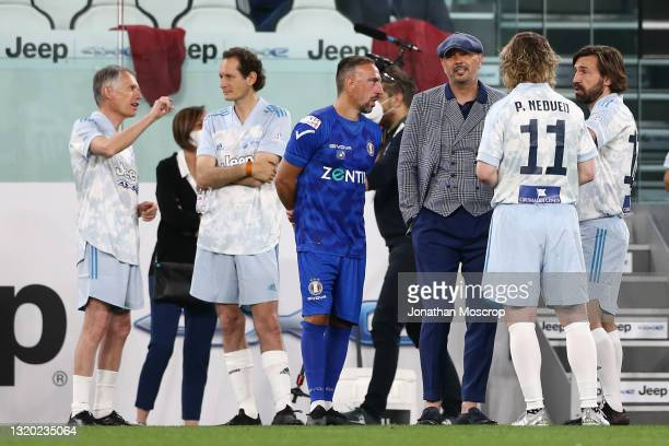 Carlos Tavares CEO of Stellantis discusses with John Elkann CEO of Exor as Sinisa Mihajlovic chats with Franck Ribery, Pavel Nedved Vice President of...