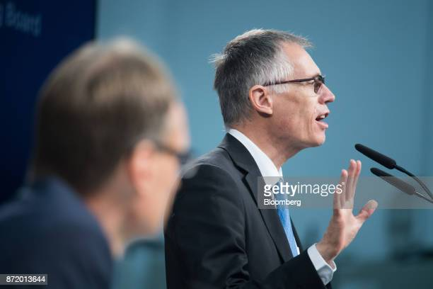 Carlos Tavares chief executive officer of PSA Group gestures while speaking during a news conference at the Opel factory in Ruesselsheim Germany on...
