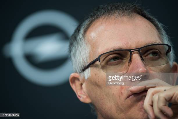 Carlos Tavares chief executive officer of PSA Group looks on during a news conference at the Adam Opel AG factory in Ruesselsheim Germany on Thursday...