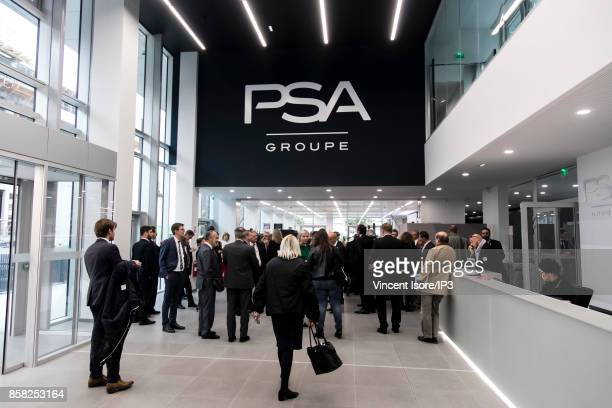 Carlos Tavares inaugurates the new headquarters of its group at 7 rue Henri Sainte Claire Deville on October 2 2017 in RueilMalmaison France The day...
