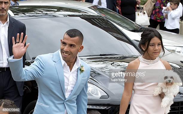 Carlos Tevez and Florencia Tevez arrive to the San Isidro City Hall for the civil wedding ceremony of Carlos Tevez and Vanesa Mansilla on December 22...