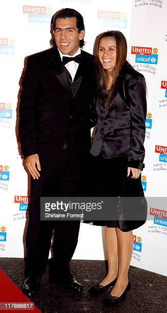 Carlos Tevez and partner arrives for the Manchester United `United for UNICEF' Gala Dinner at Manchester United Football Club October 28 2007 in...