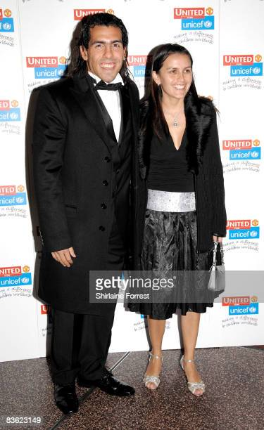 Carlos Tevez and wife Vanessa Mansillo attends the Manchester United `United for UNICEF' Gala Dinner at Manchester United Museum on November 9 2008...