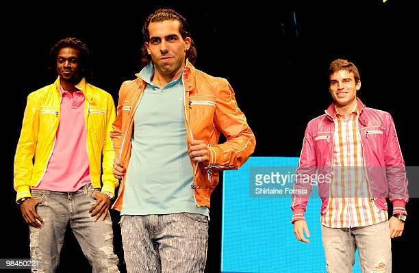 Carlos Tevez, Emmanuel Adebayor and Javier Garrido model Selfridges collection at Fashion Kicks in aid of Macmillan Cancer Relief at Old Trafford...