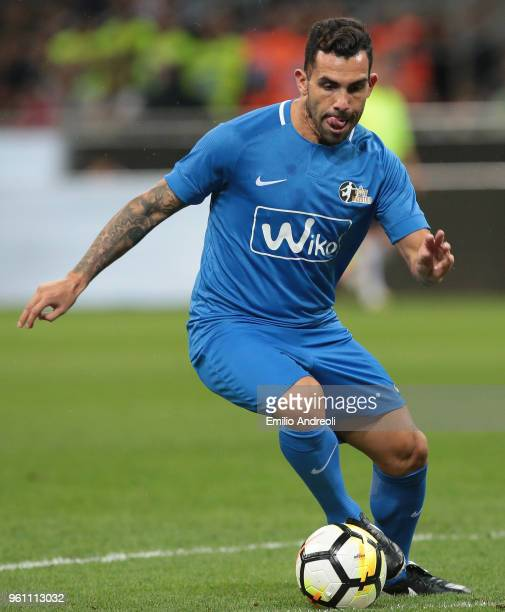 Carlos Tevez in action during Andrea Pirlo Farewell Match at Stadio Giuseppe Meazza on May 21 2018 in Milan Italy