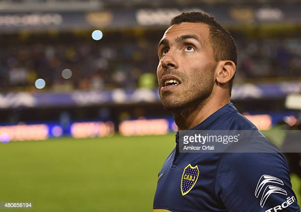 Carlos Tevez looks on during his presentation as new player of Boca Juniors at Alberto J Armando Stadium on July 13 2015 in Buenos Aires Argentina