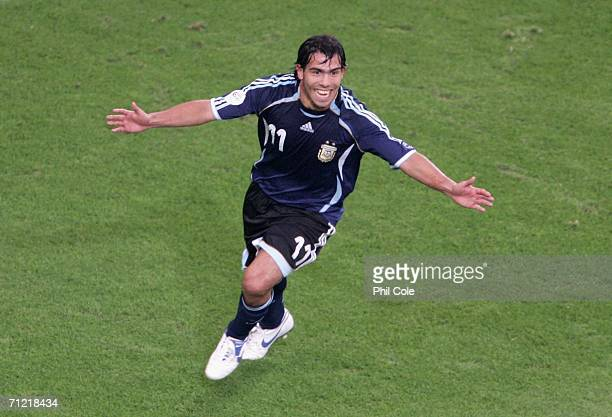 Carlos Tevez of Argentina celebrates scoring the fifth goal during the FIFA World Cup Germany 2006 Group C match between Argentina and Serbia...