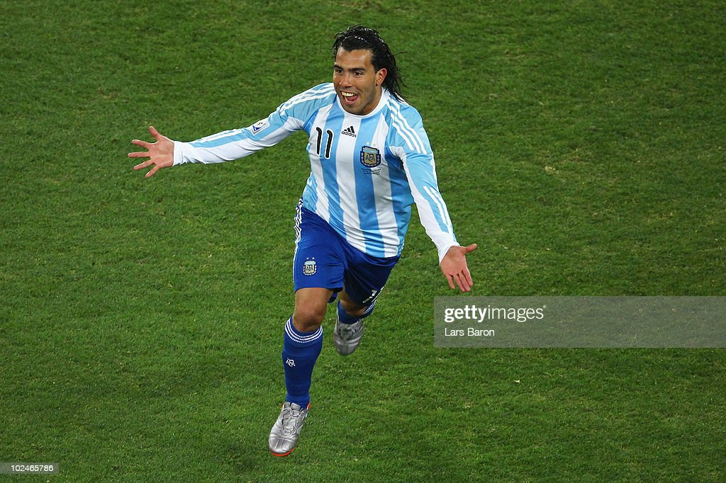 Carlos Tevez of Argentina celebrates scoring the third goal for his team during the 2010 FIFA World Cup South Africa Round of Sixteen match between Argentina and Mexico at Soccer City Stadium on June 27, 2010 in Johannesburg, South Africa.