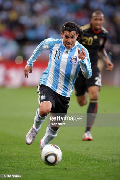 Carlos Tevez of Argentina in action during the 2010 FIFA World Cup Quarter Final match between Argentina and Germany at Green Point Stadium in Cape...