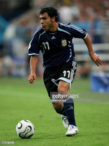Carlos Tevez of Argentina in action during the FIFA World Cup Germany 2006 Group C match between Argentina and Serbia Montenegro at the Stadium...