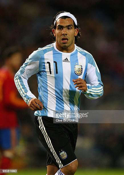 Carlos Tevez of Argentina in action during the friendly International football match Spain against Argentina at the Vicente Calderon stadium in...