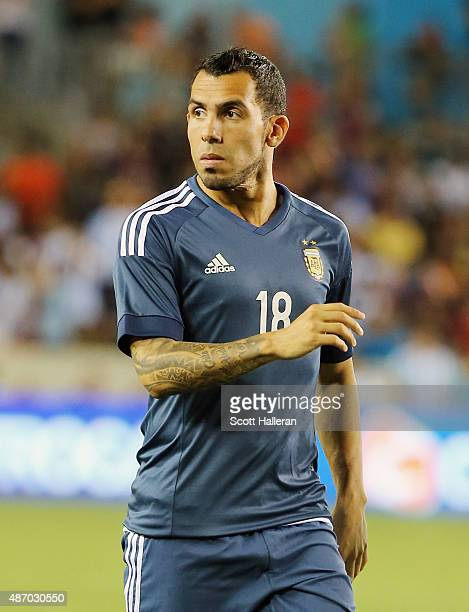 Carlos Tevez of Argentina in action on the field during their International friendly match against Bolivia at BBVA Compass Stadium on September 4...