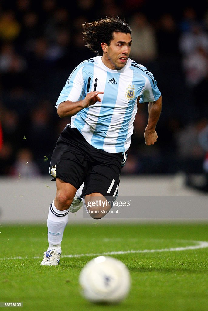 Carlos Tevez of Argentina runs with the ball during the International Friendly match between Scotland and Argentina at Hampden Park on November 19, 2008 in Glasgow, Scotland.