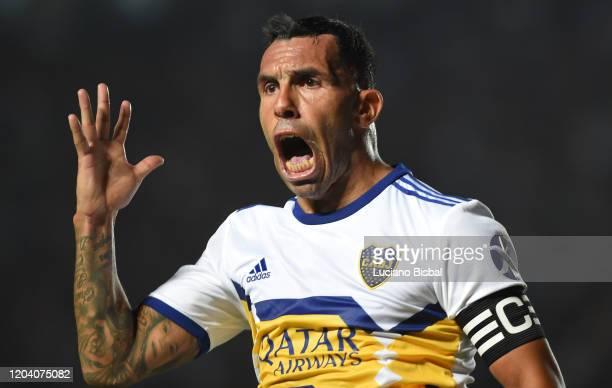 Carlos Tevez of Boca Juniors celebrates after scoring his team's third goal during a match between Colon and Boca Juniors as part of Superliga...