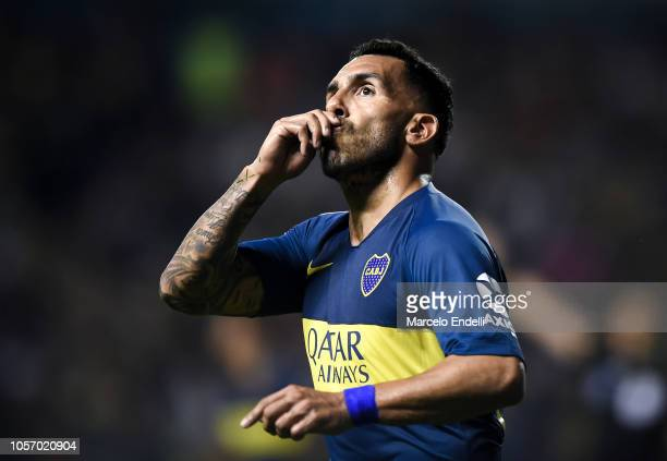 Carlos Tevez of Boca Juniors celebrates after scoring the first goal of his team during a match between Boca Juniors and Tigre as part of Superliga...